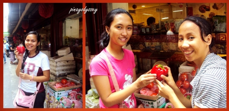 Me and my two accomplices getting impressed by big and fresh veggies :D