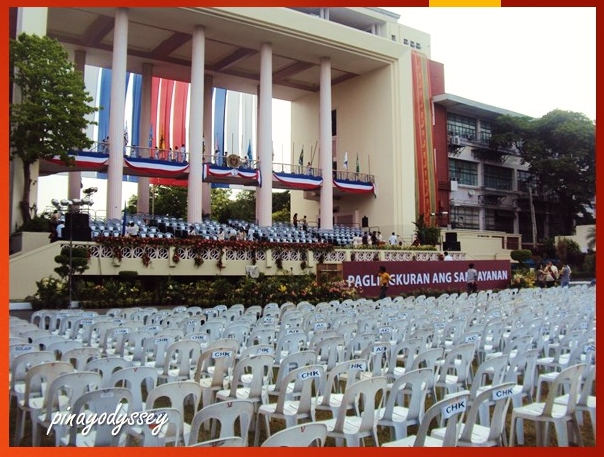 The back of the Quezon Hall during the Commencement Exercises in 2012