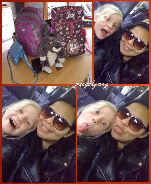My 7-year old travel buddy and I on the IC-train