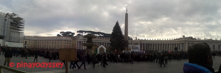 St. Peter's square with the obelisk and a huge Christmas tree