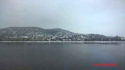 Drammen, as seen from the train window