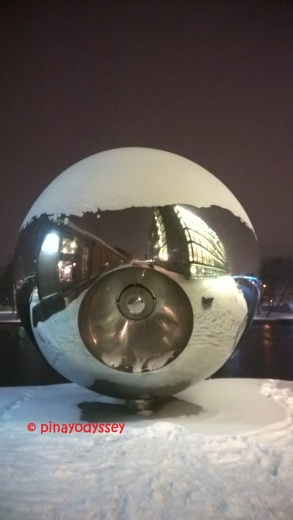 Giant steel ball by Drammenselva