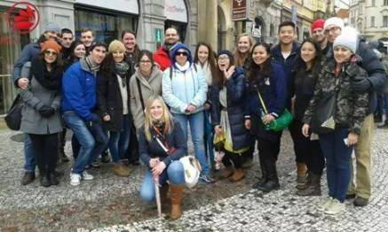 With the walking tour group