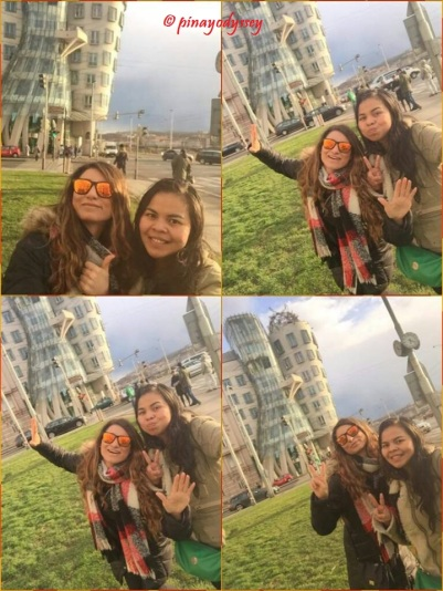 My Italian friend and I in front of the Dancing House