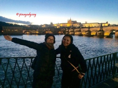 The bridge, as seen from the Old Town side. Photo with lovely Shoko, a Japanese traveler!