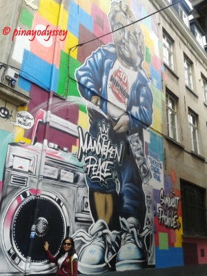 Mannekin Pis on street art/graffiti