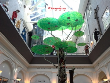 Modern art installation in the atrium lobby of the museum