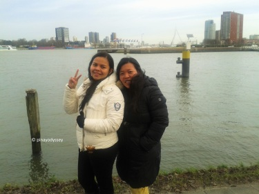 Me and my aunt posing by the River Maas/Meuse