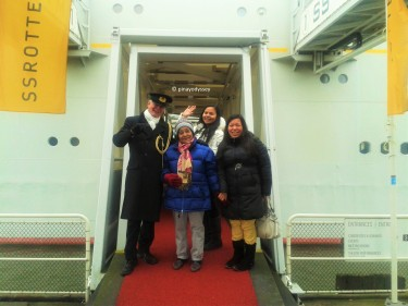 At the red carpet entrance of the hotel ship