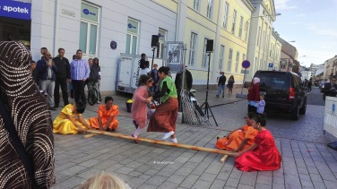 Visitors trying the tinikling, a Filipino folk dance