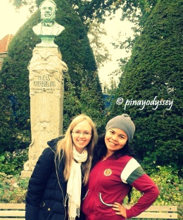 Me and my friend, with the zoo founder's bust at the back