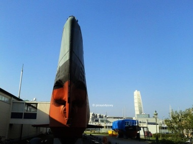 The U3 submarine, with the Turning Torso visible in the background
