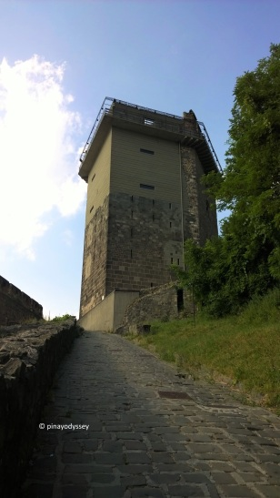 The renovated side of the tower
