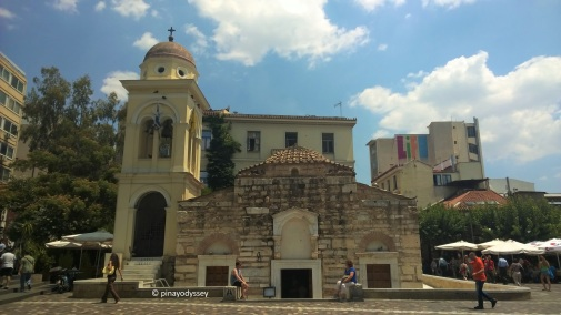 "The Church of the Pantanassa, the Monastiraki (""little monastery"") that gave the square its name."