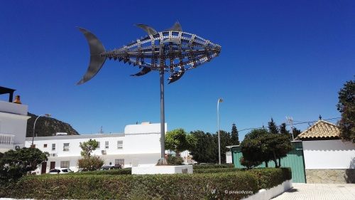 A statue of a tuna fish in Zahara de los Atunes