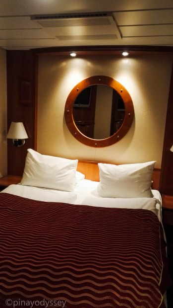 Inside cabin with double bed