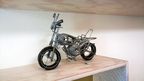 A motorcycle made with wires