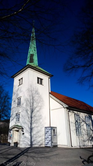 Strømsgodset, a church built in 1843 and designed by architect Christian Heinrich Grosch. It was renovated in 1870 and 1960.